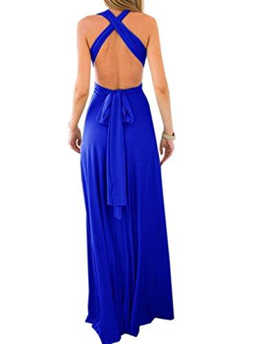 de Zafiro Noche Falda sin Cóctel de EMMA Dama Mujeres Elegante Larga Azul Respaldo Vestido Honor de FqHxBwR