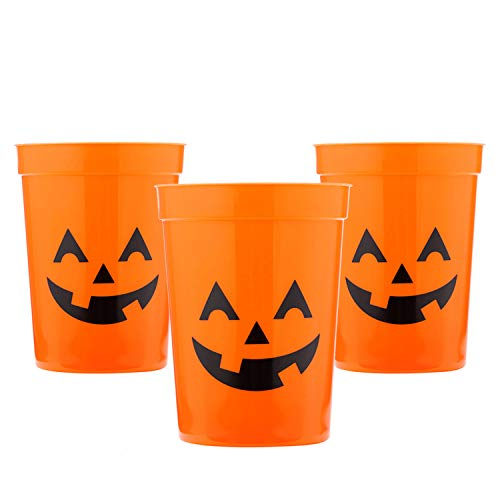 (MISS FANTASY Halloween Cups Halloween Party Supplies for Kids Pumpkin Plastic Stadium Cups Set of 12 (Orange))