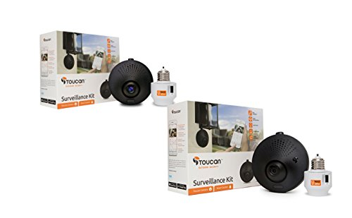 Toucan Outdoor Wireless WiFi Security Camera, 1 LED Light Bulb, 2 Pack