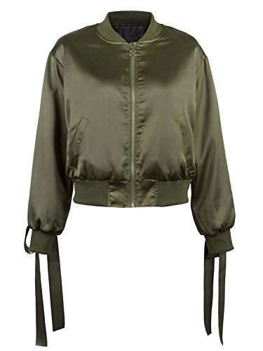 Simplee Women's Casual Loose Lace Up Long Sleeve Satin Bomber Jacket Coat Army Green (Cropped Bomber)