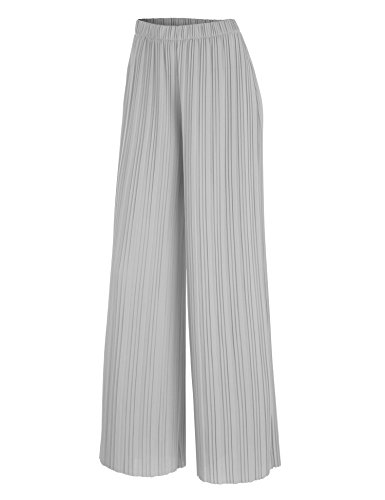 WB1795 Womens Pleated Wide Leg Pants with Elastic Waist Band-Made in USA L Grey