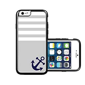 RCGrafix Brand Grey Solid Stripes Blue Anchor Sailor Sea Life iPhone 6 Case - Fits NEW Apple iPhone 6