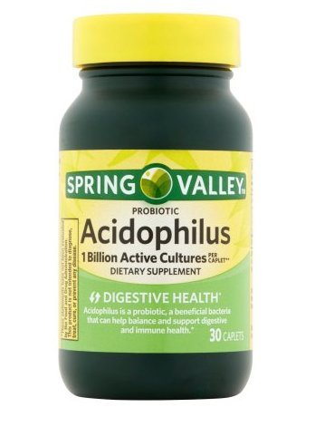 Spring Valley Probiotic Lactobacillus Acidophilus 30 Caplets Digestive Support