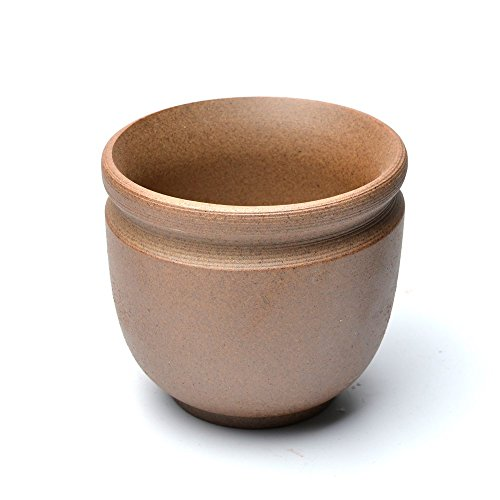 COOLSKY Round Ceramic Classical Rough Pottery Succulent/Bonsai Planter Flower Pot Plants Display Bowl Home Decor,Brown 4.3 inch with A Garden Tool Set
