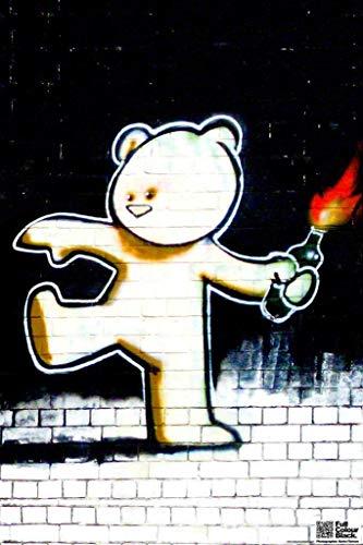 Pyramid America Laminated Firebomb Teddy Banksy Sign Poster 12x18 inch