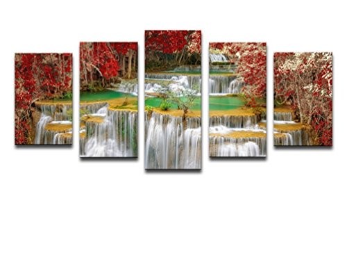 Noah Art-Contemporary Forest Pictures Photo Prints, Waterfall Artwork Autumn Decor Picture for Wall Landscape Photography Poster Art Prints on Canvas, 5 Piece Canvas Framed Wall Art for Living Room