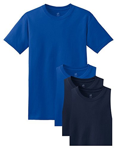 - Hanes Men's Comfortsoft T-Shirt, 2 Deep Royal / 2 Navy, 2XL (Pack of 4)