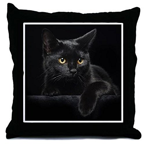 CafePress Black Cat Decor Throw Pillow (18