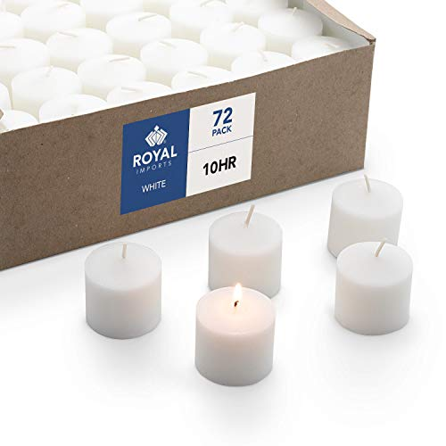 Royal Imports Votive Candle, Unscented White Wax, Box of 72, for Wedding, Birthday, Holiday & Home Decoration (10 Hour) ()