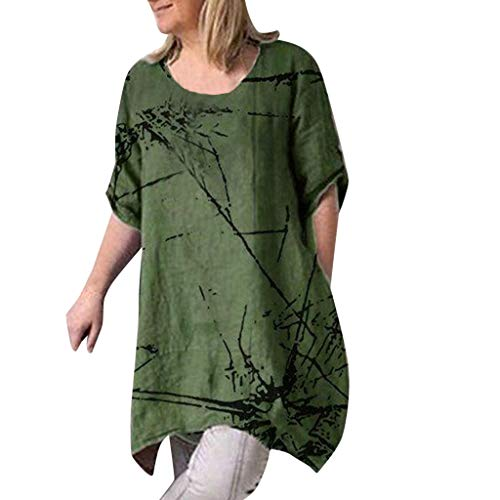(Cewtolkar Women T Shirt Plus Size Tops Summer Blouse Cotton and Linen Tunic Short Sleeve Tees Pullover Shirt Army)