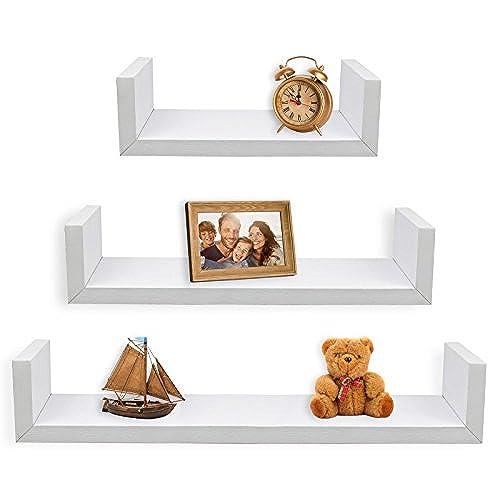 Charmant Greenco Set Of 3 Floating U Shelves, White Finish
