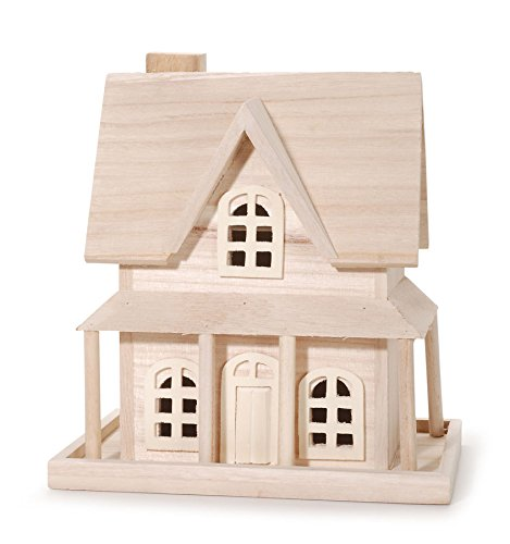 Price comparison product image Darice 9190-115 Wood House for Craftwork, 7.8 by 5.1 by 9.25-Inch