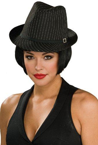 (Rubie's Pinstripe Fedora Costume, Black, One Size)
