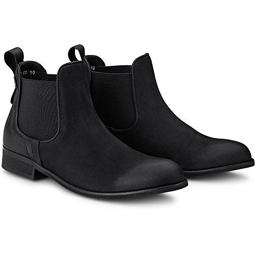 Cox Dames Chelsea-boots Gemaakt Van Leer, Zwarte Enkellaars Met Zwarte Stretch Insert