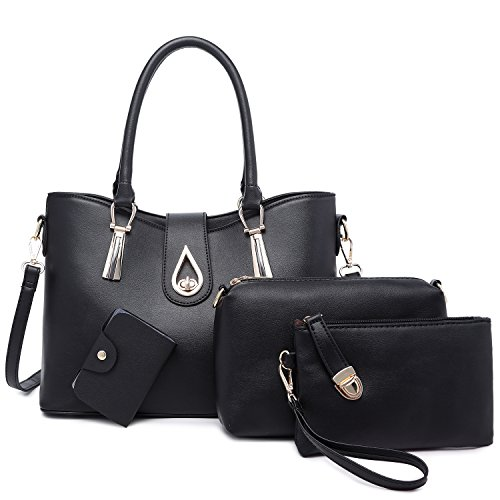 Tibes Women Top-handle Bag Large Purse Handbag Black