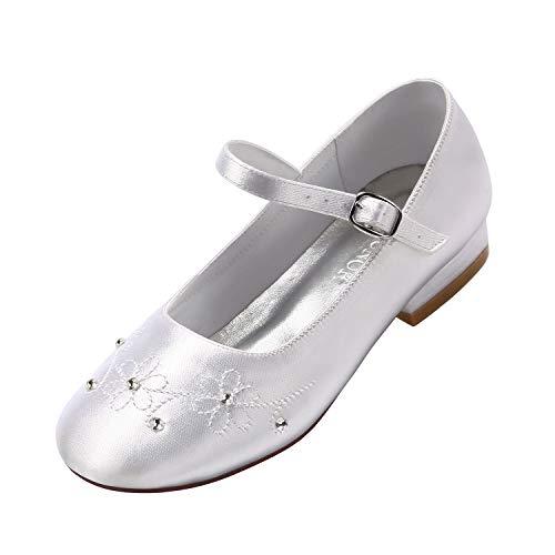 ERIJUNOR E1323A White Communion Shoes Comfortable Flower Girls Dressy Shoes Dyeable Satin Size 1