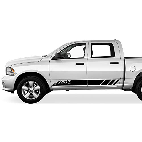 Bubbles Designs 2X Decal Sticker Graphic Side Mountain Stripes Compatible with Dodge Ram 2009-2017 1500 -