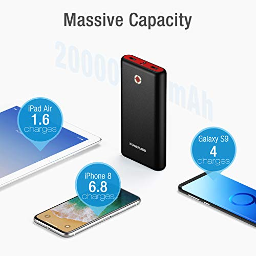 POWERADD Pilot X7 20000mAh Power Bank Portable Mobile Charger External Battery with 2 USB 3.1A Outputs for iPhone iPad Samsung Android Devices Tablets and More-Black/Red
