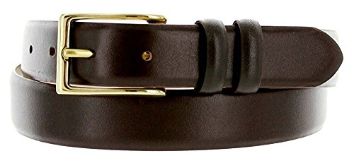 Hagora Men 1-1/8'' Wide Genuine Italian Calfskin Embossed Clear Gold Buckle Belt,Smooth Brown 40 by Hagora