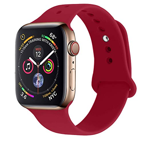 RUOQINI Compatible with Apple Watch Band 42mm 44mm,Sport Silicone Soft Replacement Band Compatible for Apple Watch Series 4/3/2/1 [S/M Size - Rose red]