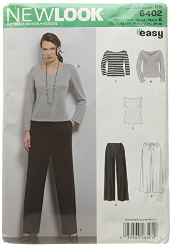 New Look Sewing Pattern UN6402A Autumn Collection Misses' Pants & Knit Tops Sewing Patterns, A (XS-S-M-L-XL)