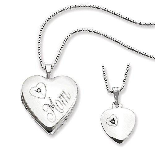 Sterling Silver Diamond Polished Heart Locket and Pendant Set ()