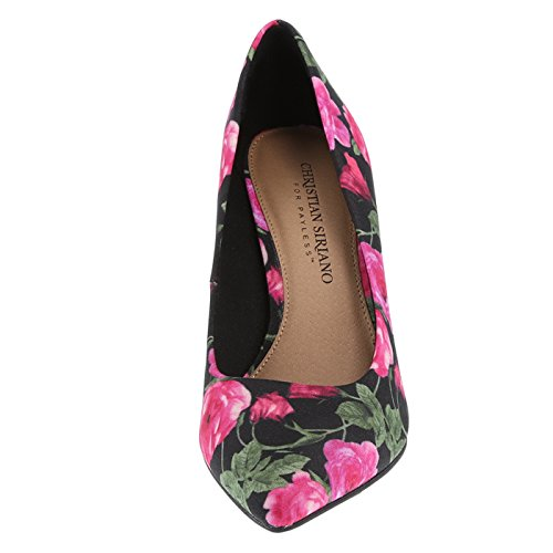 Siriano Christian Floral for Pointed Women's Pump Payless Pink Black Habit 7dqSdfw