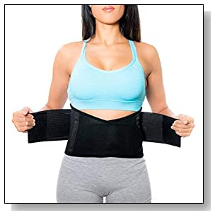 Lower Back Brace | Lumbar Support | Wrap for Posture Recovery, Workout, Herniated Disc Pain Relief | Waist Trimmer Weight Loss Ab Belt | Exercise Adjustable | Breathable | Women & Men | Black L