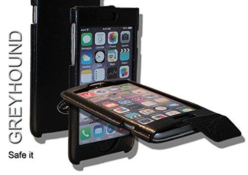 Exklusive Echt Leder Handytasche Cover Hülle in Schwarz offen für das Apple iPhone 6 6S Plus incl. Sicherheitslasche