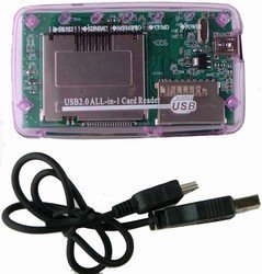 USB2.0 Micro SD TF MMC SDHC MS Memory Card Reader Purple - 2