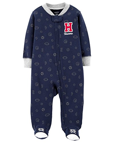 (Carter's Baby Boys' Cotton Zip-up Sleep N Play (9 Months, Navy Allover Sports))