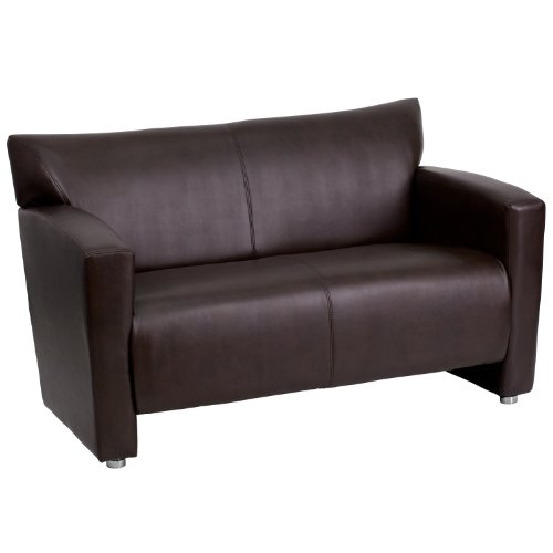 Flash Furniture HERCULES Majesty Series Brown Leather Loveseat - Executive Home Theater Sofa