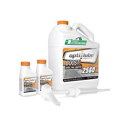 Opti-Lube Boost! Maximum Cetane Formula Diesel Fuel Additive: 1 Gallon with Accessories (HDPE Plastic Hand Pump and 2 Empty 4oz Bottles) Treats up to 2,560 Gallons