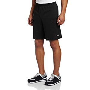 Champion Men's Jersey Short With Pockets, Black, Large