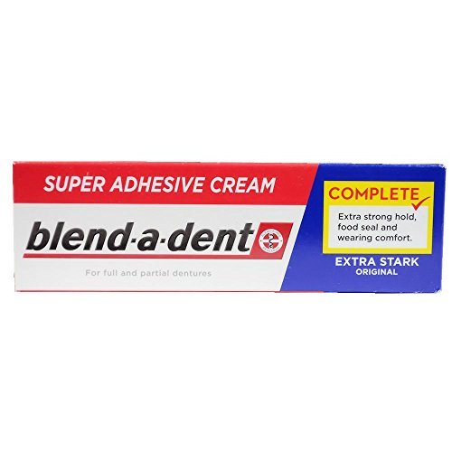 German blend-a-dent Super Denture Adhesive Cream Extra Stark ORIGINAL (Blue) 47g (Best Denture Adhesive 2019)