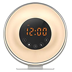 AMIR Wake Up Light, 6 Nature Sounds, 7 Colors FM Radio Sunrise Sunset Simulation Alarm Clock Night Light with Smart Snooze Function, Touch Screen USB Charger