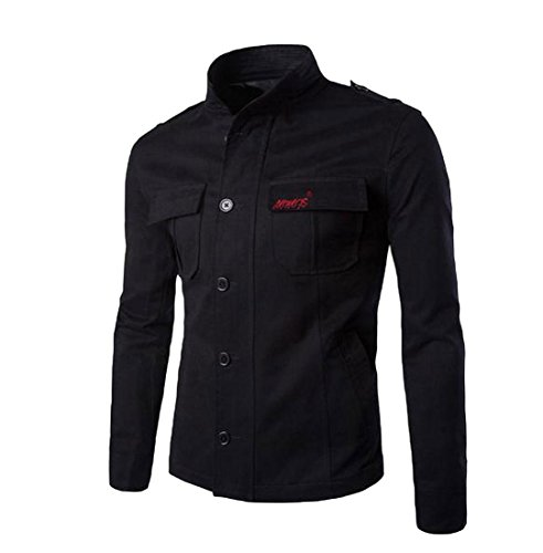 Comfy Mens Button Mandarin Collar Embroidery Resolve Jacket Black M