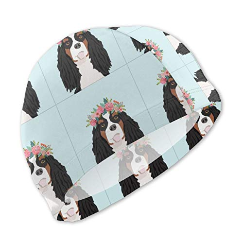 18 Cavalier King Charles Spaniel Tri Dog Pillow with Cut Lines Swimming Cap Swim Caps,Waterproof Spandex No-Slip Swimming Hat for Unisex Kids Boys -