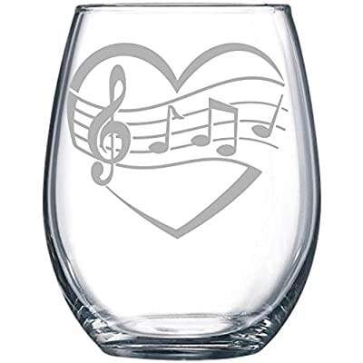 Heart, Music 15 oz. stemless wine glass