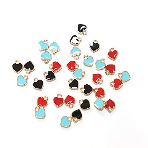 (50pcs Mixed Color Zinc Alloy Enamel Mini Sweet Heart Charms for DIY Necklaces Bracelets Jewelry Accessories)
