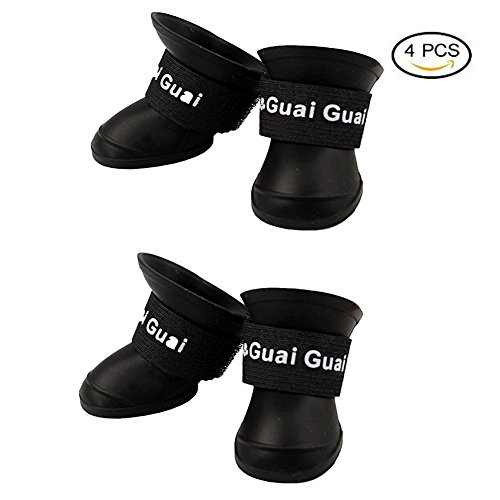 2018 NEW Cute Little Pet Dog Puppy Rain Snow Boots Shoes Booties Candy Colors Rubber Waterproof Anti-slip (S(Weight:5~10lb), Black)