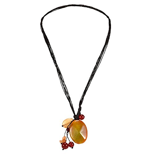 (AeraVida Cotton Wax Rope Teardrop Goldstone & Carnelian & Reconstructed Agate Statement Pendant Necklace)