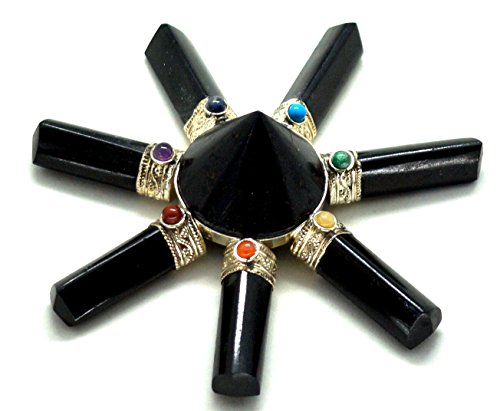 Healing Crystals India Traditional Natural Gemstone 7 Point Energy Generator, Black Tourmaline Conical