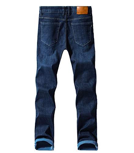 Colour Dritto Slim Pantaloni Semplice Jeans Stile Stretch Casual Moda Regolari Denim Blu Casuali Del Uomo Hx76YR