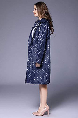 Bolsillos Capucha Con Dot Huixin Blau Parka De Lluvia Espesa Poncho Outdoor Mujer Impermeable Print Capa x1OTqSwO
