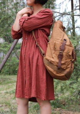 Serbags Brand Military Canvas Rucksack Travel Hiking Backpack Bag Dark Brown