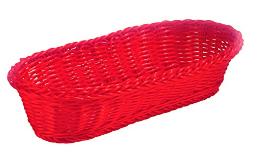 (TableCraft HM1118R Handwoven Polycord Oblong Basket, Red)