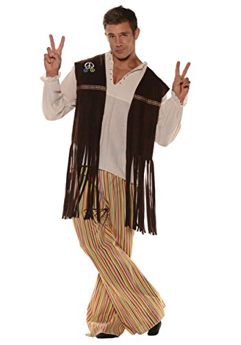 Underwraps Adult Fringed Hippie Vest with Patches, Brown