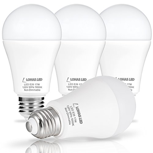 LOHAS LED Bulb 100-150W Equivalent, LED Light Bulbs Daylight 5000k, White A19 Bulb 17W, E26 Edison Base LED Lights, LED Home Lighting Lamps, Non-Dimmable(4 Pack)