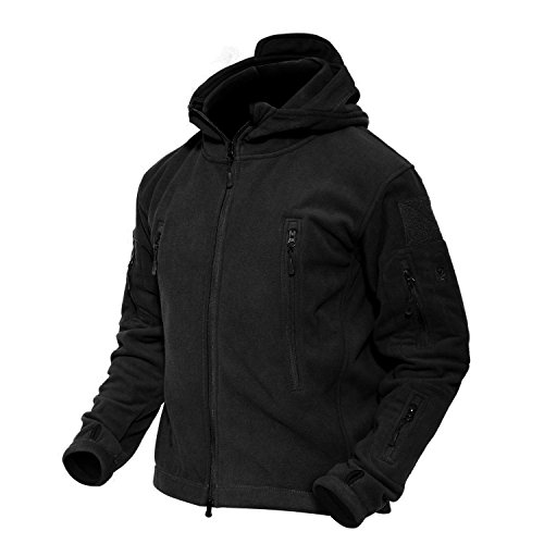 MAGCOMSEN Men 's Tactical Fleece Jacket Military Windproof Jacket Winter Jacket Warm Jacket Black